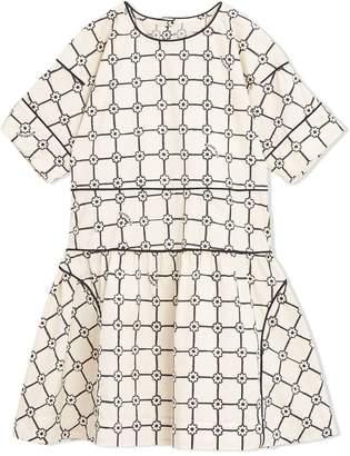 Burberry Piping Detail Flower Print Cotton Dress
