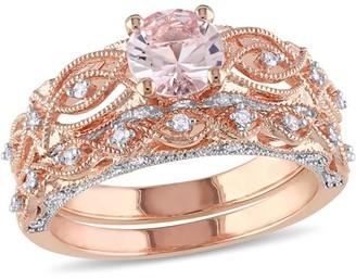 Tangelo 4/5 Carat T.G.W. Morganite and 1/4 Carat T.W. Diamond 10kt Rose Gold Vintage Bridal Set