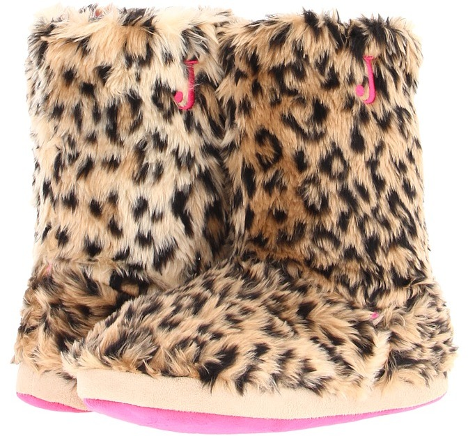 Justin - Furry Boot Slippers (Brown Leopard) - Footwear