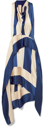 Petar Petrov Asymmetric Striped Silk-satin Midi Dress - Royal blue