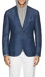 Barneys New York Men's Slub Cotton-Linen Chambray Two-Button Sportcoat - Md. Blue