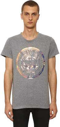 Balmain Mirror Print Cotton Jersey T-Shirt