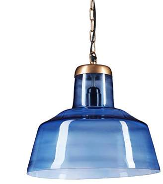 Relaxdays Glass Hanging Ceiling Lamp, Industrial Design, Modern Pendant Light, E27, Blue