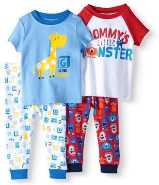 Unbranded Baby Boy Short Sleeve Cotton Tight Fit Pajamas, 4pc Set