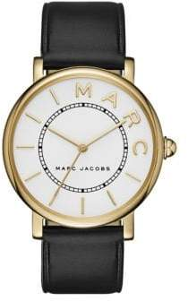 Marc Jacobs Analog Classic Goldtone Black Leather Strap Watch