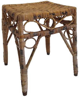 One Kings Lane Vintage French Woven Rattan Stool - Hedgerow Antiques