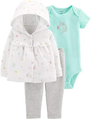 Carter's Baby Girl Unicorn Cardigan, Bodysuit & Striped Leggings Set