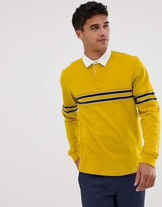 Farah Genesis long sleeve rugby stripe polo in yellow