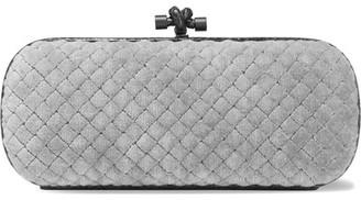 Bottega Veneta - Knot Watersnake-trimmed Quilted Velvet Clutch - Light gray $1,600 thestylecure.com