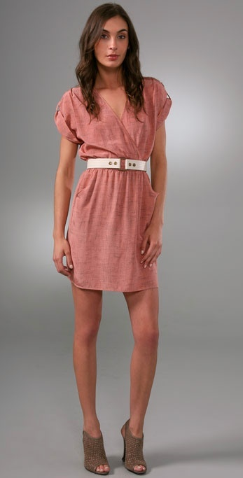 Twelfth St. By Cynthia Vincent Belted Deep V Dress with Cuffed Sleeves