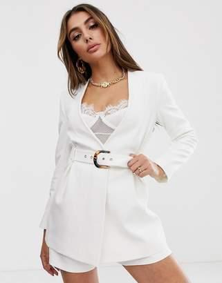Asos Design DESIGN collarless white suit blazer