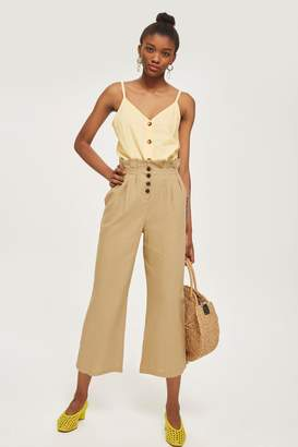Topshop Button Cropped Wide Leg Trousers