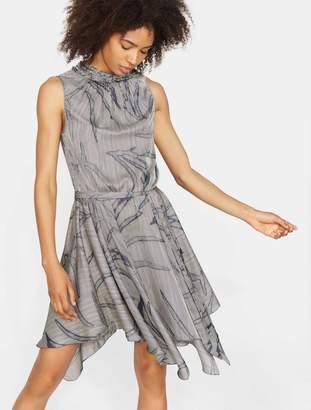 Halston Printed Ruffle Smocked Mock Neck Dress