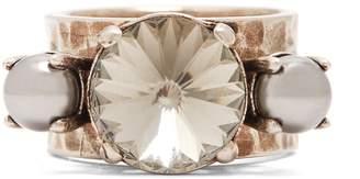 Miu Miu Crystal and faux-pearl ring