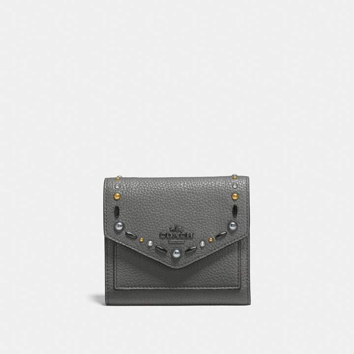 Coach New YorkCoach Small Wallet With Prairie Rivets - HEATHER GREY/DARK GUNMETAL - STYLE