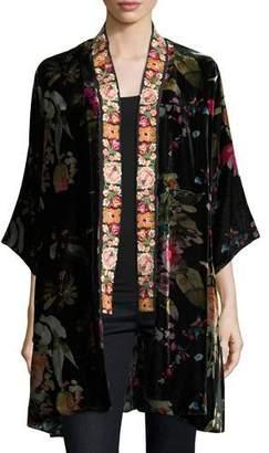 Johnny Was Kehlani Reversible Velvet Kimono W/ Embroidery Trim, Plus Size