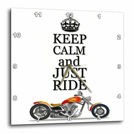 3dRose Keep calm and just ride. Cool motorcycles saying., Wall Clock, 15 by 15-inch
