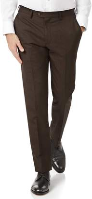 Charles Tyrwhitt Chocolate Slim Fit Sharkskin Travel Suit Wool Pants Size W38 L34