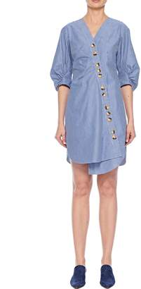 Tibi Stripe Asymmetrical Shirt Dress