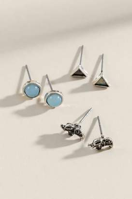 francesca's Harlow Mixed Shape Stud Earring Set - Silver