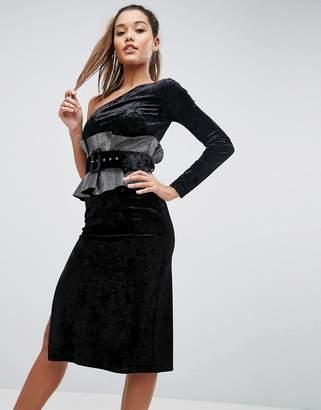 Asos DESIGN One Shoulder Belted Metallic Waist Midi Dress