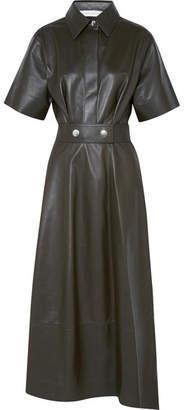 Victoria Beckham Belted Leather Midi Dress - Green