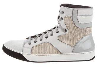 Lanvin Round-Toe High-Top Sneakers