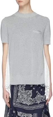 Sacai Pleated lace panel tulle back short sleeve sweater