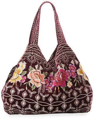 Johnny Was Flores Embroidered Velvet Tote Bag