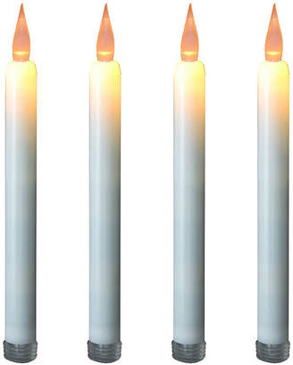 Asstd National Brand Battery Operated LED Taper Candles - Off White with Amber Light (Set of 4)