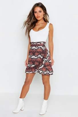 boohoo Petite Snake Print Ruffle Wrap Mini Skirt