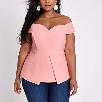 River Island Plus pink structured bardot top