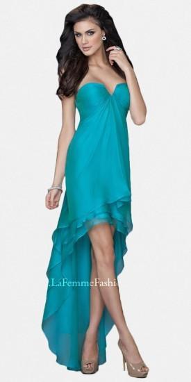 La Femme Blue Sweetheart Chiffon Evening gown