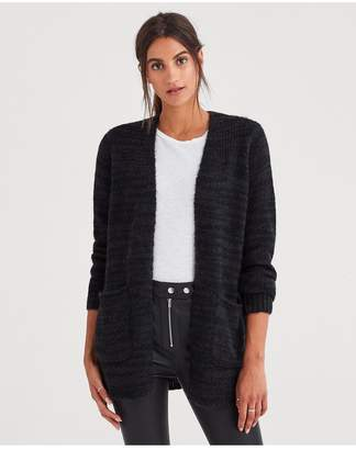 7 For All Mankind Cardigan Sweater In Dark Charcoal
