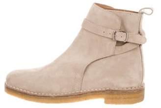 Ami Alexandre Mattiussi Suede Strap Accent Ankle Boots tan Suede Strap Accent Ankle Boots
