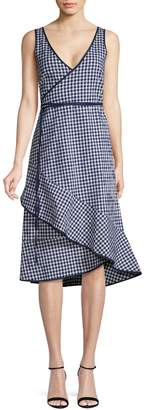 HUGO Gingham Cotton Blend Wrap Dress