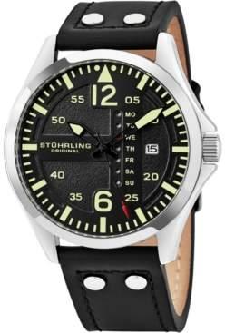 2a1a44793 Stuhrling Original Men's Japan Quartz Luminous Pilot Watch, Polished Silver  Tone Case, on Brown