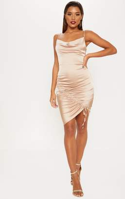 PrettyLittleThing Champagne Print Cowl Neck Lace Up Detail Bodycon Dress
