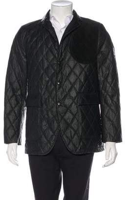 Moncler Gamme Bleu Giacca Suede-Accented Down-Filled Blazer