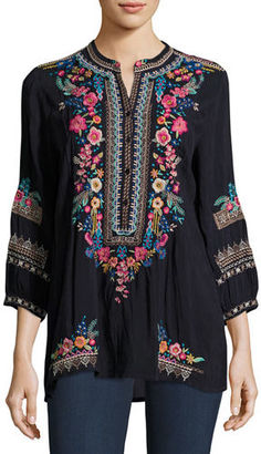Johnny Was Sarabeth 3/4-Sleeve Georgette Tunic, Plus Size $255 thestylecure.com