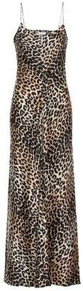 Ganni Leopard-printed silk slip dress