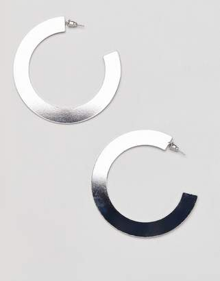 Missguided thick open hoop silver earring
