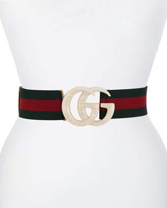 Gucci Elastic Web Belt w/ Piccadilly Moon Plexiglass Double-G Buckle