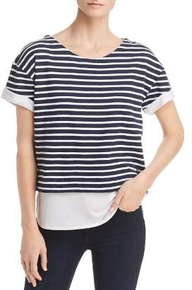 Andrew Marc Layered-Look Striped Top