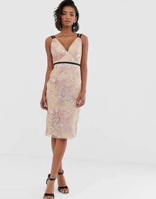 Asos Design DESIGN occasion pencil midi dress in floral embroidery