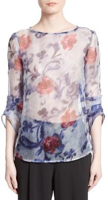 Women's Armani Collezioni Floral Print Silk Organza Tunic $695 thestylecure.com