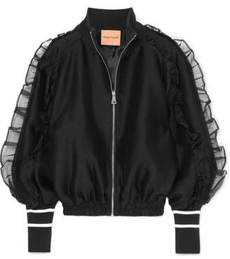 Maggie Marilyn - Some Kind Of Wonderful Silk Organza-trimmed Jersey Bomber Jacket - Black