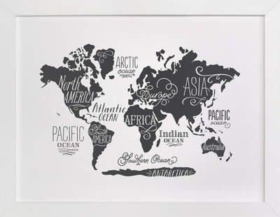 Whimsical World Map Self-Launch Children's Art Print