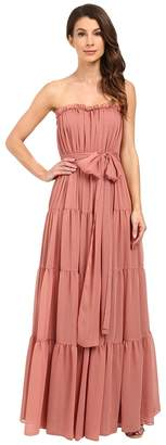 Jill Stuart Strapless Crinkle Chiffon Gown w/ Tie at Waist Women's Dress