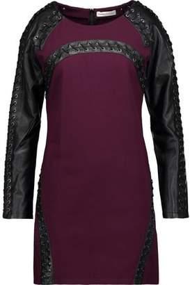 Pierre Balmain Lace-Up Leather-Paneled Cady Mini Dress